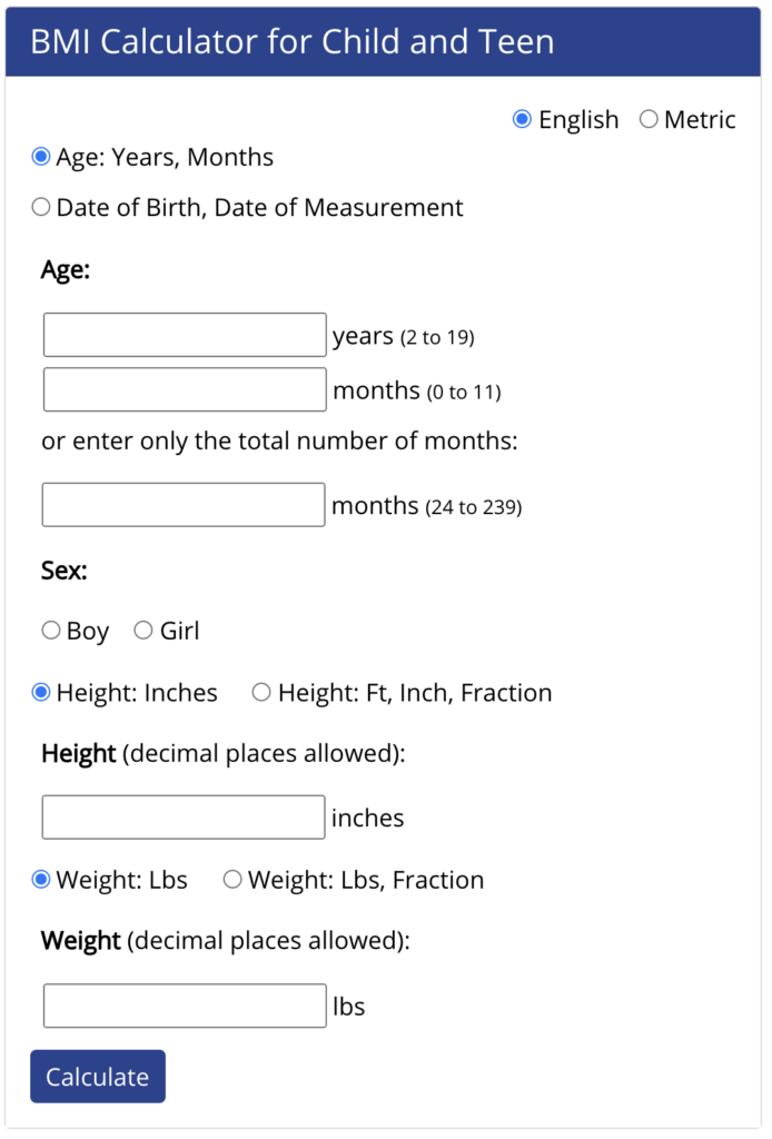BMI Calculator for Child and Teen